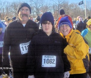 Jeff, Sue and Linda take a moment to celebrate finishing a 3.1 mile community race